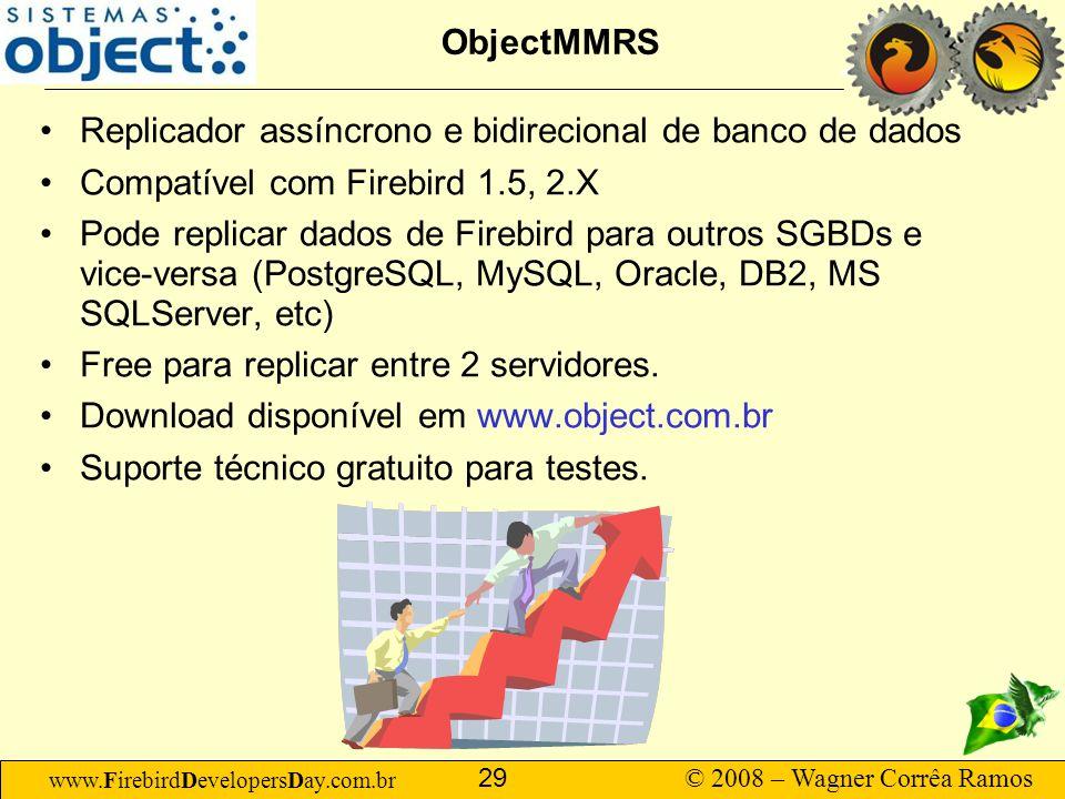 www.FirebirdDevelopersDay.com.br © 2008 – Wagner Corrêa Ramos 29 ObjectMMRS Replicador assíncrono e bidirecional de banco de dados Compatível com Fire
