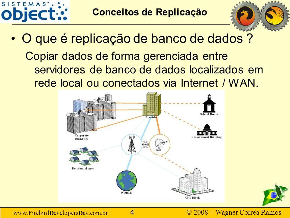 www.FirebirdDevelopersDay.com.br © 2008 – Wagner Corrêa Ramos 15 Conceitos de Replicação Topologias –Hierárquica Vários servidores centrais, organizados em níveis, exemplo: 1 servidor para cada Estado, 1 servidor para cada município, 1 servidor em cada hospital.