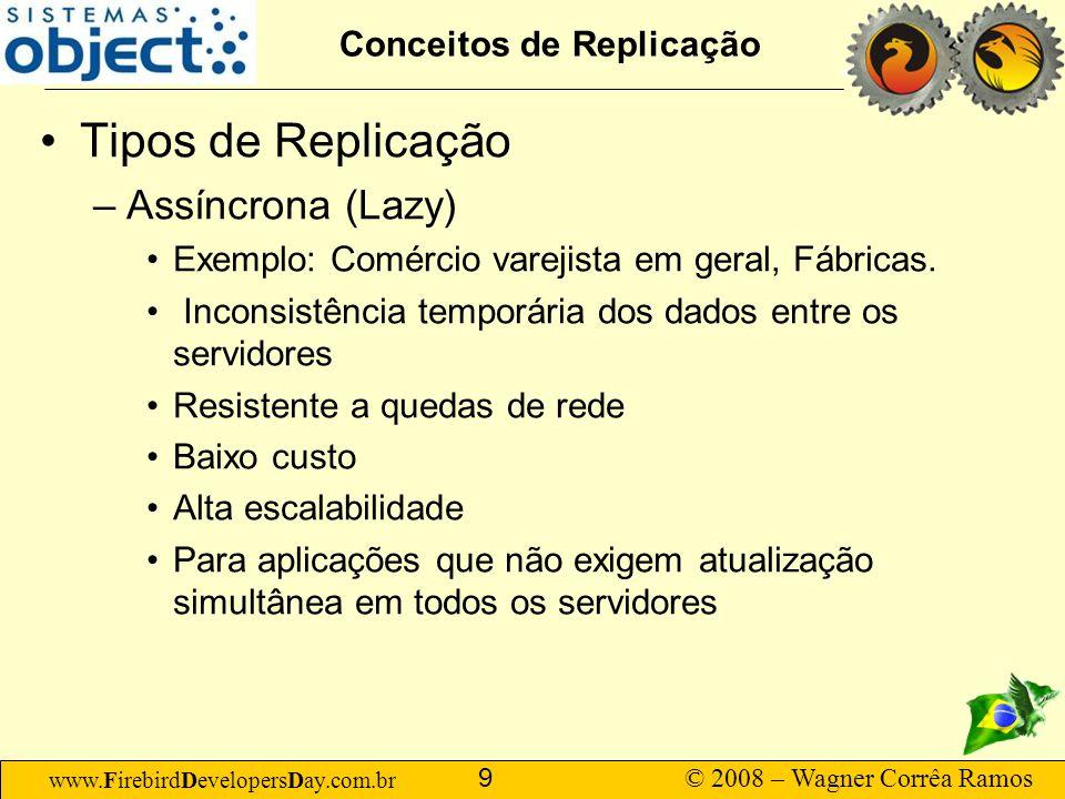 www.FirebirdDevelopersDay.com.br © 2008 – Wagner Corrêa Ramos 30 Sugestões Não tente usar replicação de dados se seu modelo de dados não está com chaves primárias e estrangeiras formalmente definidas.