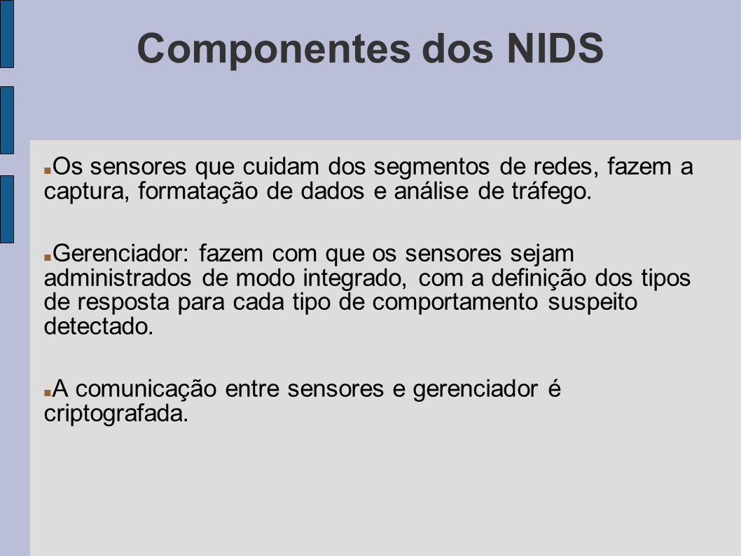 Componentes dos NIDS Os sensores que cuidam dos segmentos de redes, fazem a captura, formatação de dados e análise de tráfego. Gerenciador: fazem com