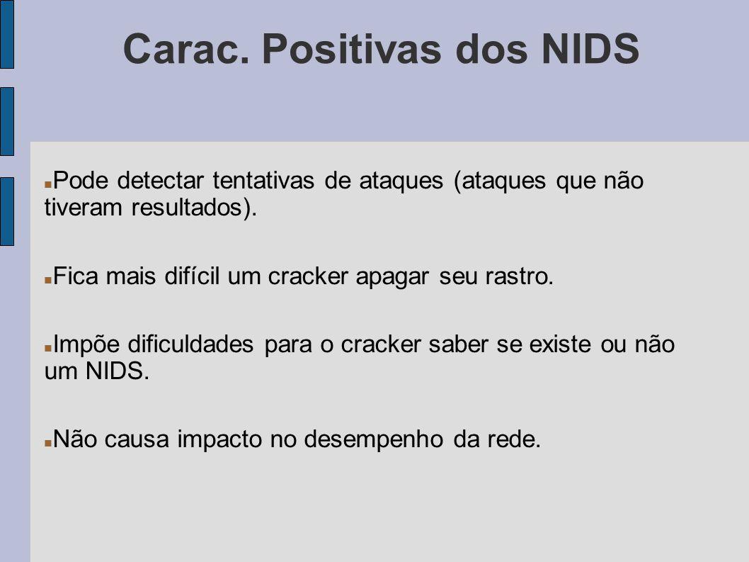 Carac. Positivas dos NIDS Pode detectar tentativas de ataques (ataques que não tiveram resultados). Fica mais difícil um cracker apagar seu rastro. Im
