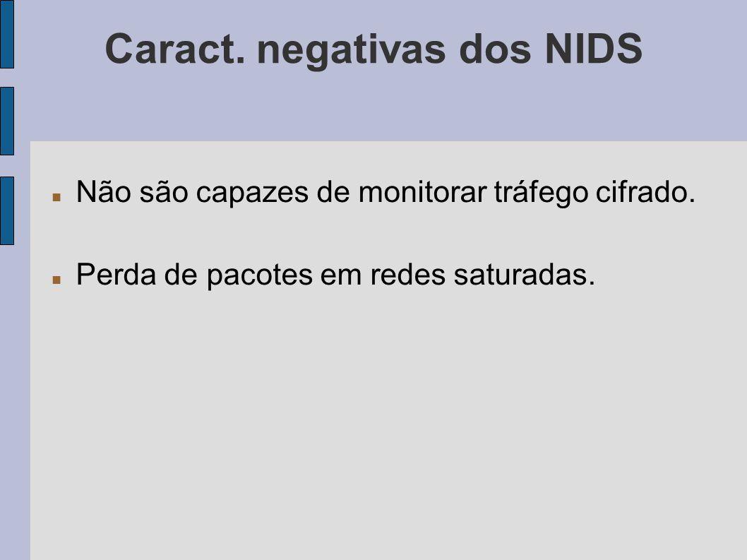 Caract. negativas dos NIDS Não são capazes de monitorar tráfego cifrado. Perda de pacotes em redes saturadas.
