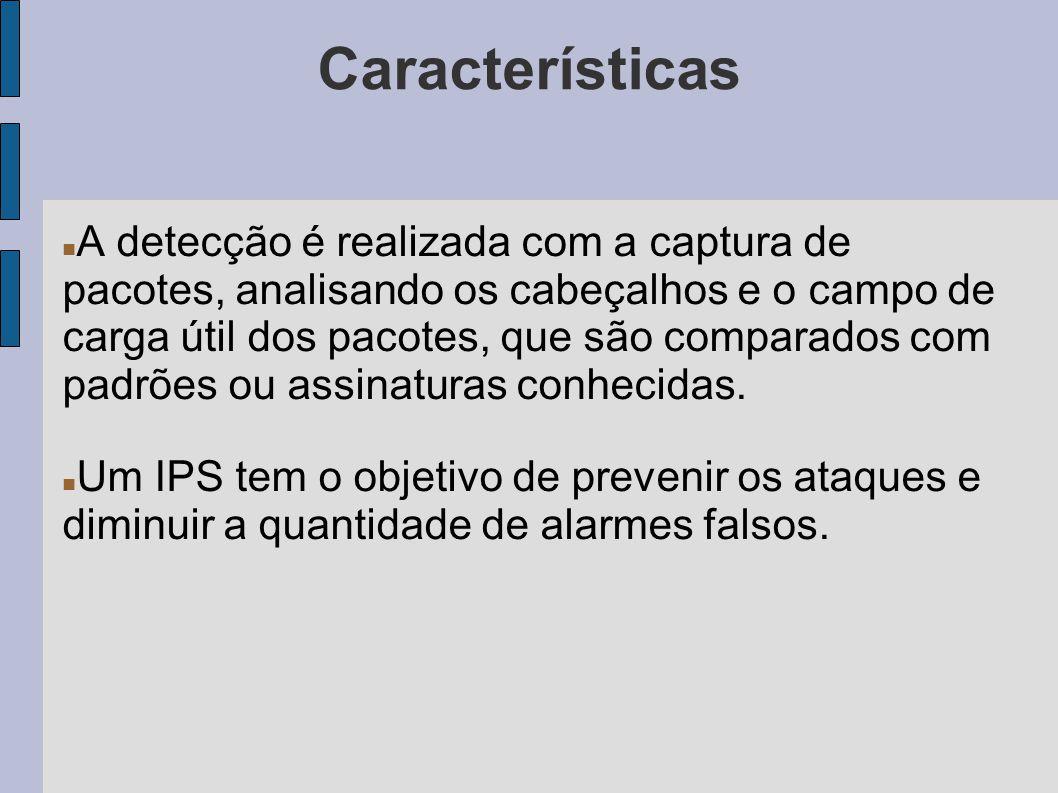 Características A detecção é realizada com a captura de pacotes, analisando os cabeçalhos e o campo de carga útil dos pacotes, que são comparados com