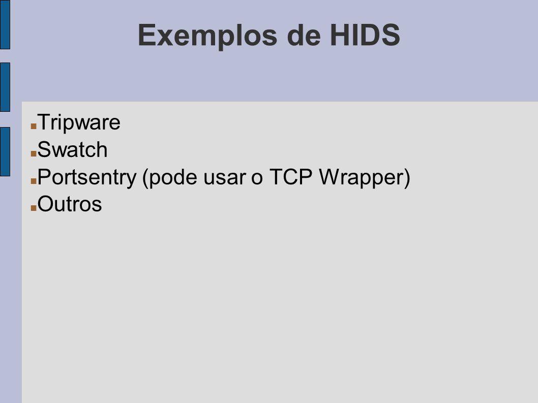 Exemplos de HIDS Tripware Swatch Portsentry (pode usar o TCP Wrapper) Outros
