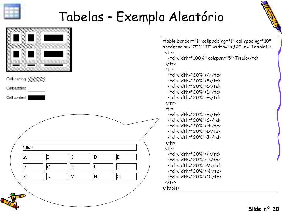 Slide nº 20 Tabelas – Exemplo Aleatório Título A B C D E F G H I J K L M N O