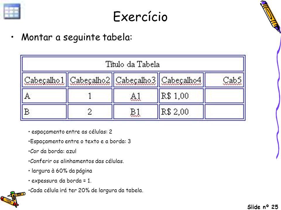 Slide nº 25 Exercício Montar a seguinte tabela: espaçamento entre as células: 2 Espaçamento entre o texto e a borda: 3 Cor da borda: azul Conferir os