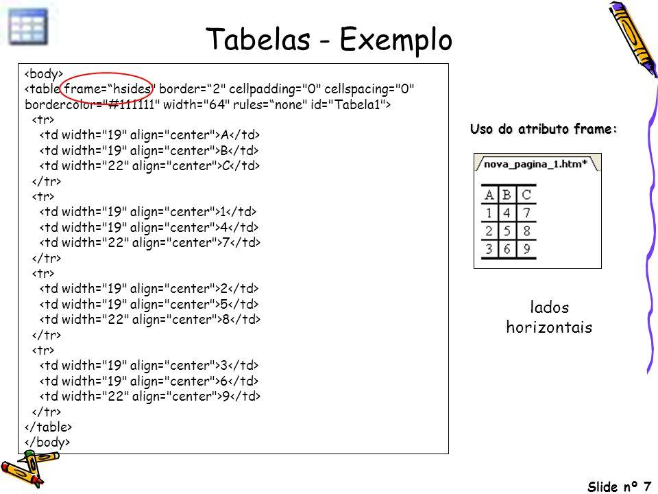 Slide nº 7 Tabelas - Exemplo A B C 1 4 7 2 5 8 3 6 9 Uso do atributo frame: lados horizontais