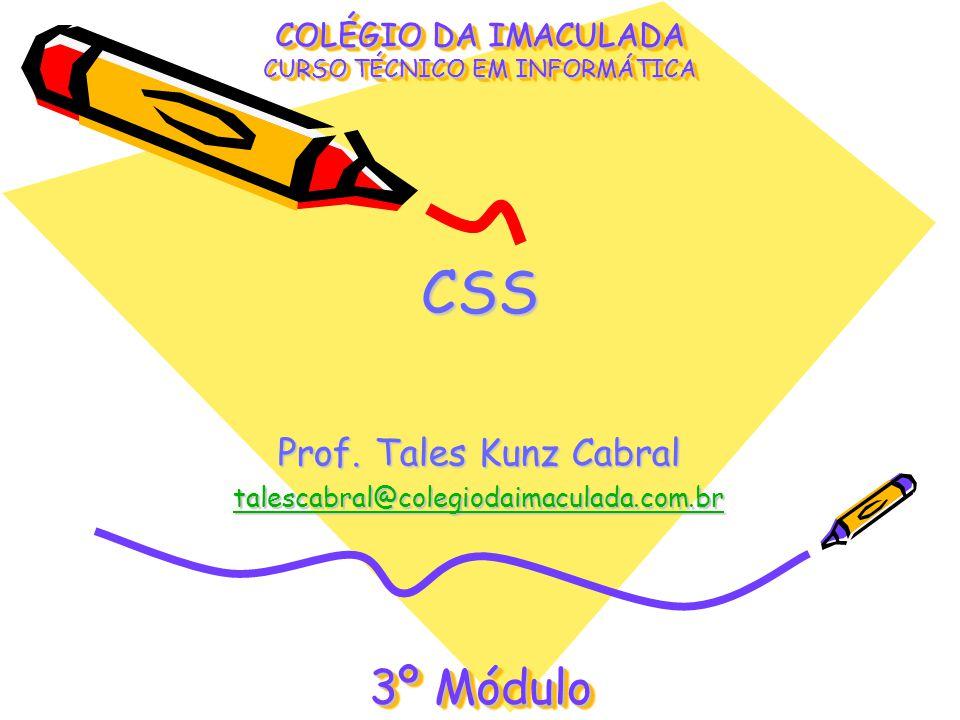 CSSCSS COLÉGIO DA IMACULADA CURSO TÉCNICO EM INFORMÁTICA Prof. Tales Kunz Cabral talescabral@colegiodaimaculada.com.br 3º Módulo