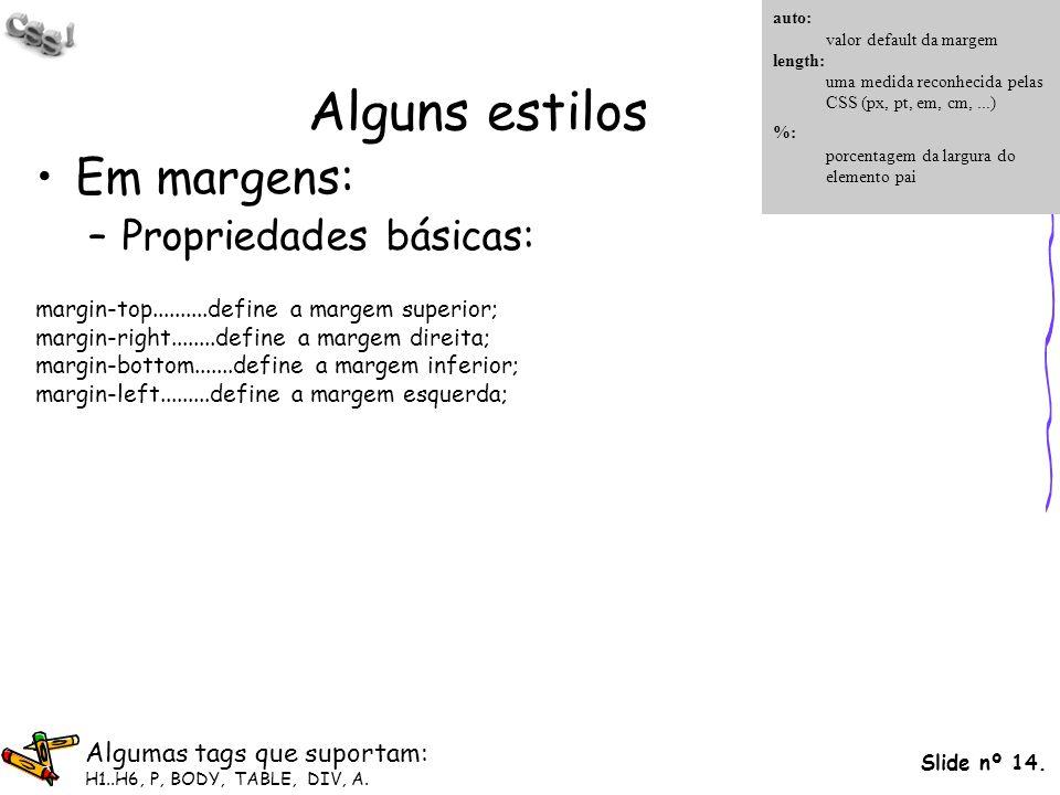 Slide nº 14. Alguns estilos Em margens: –Propriedades básicas: margin-top..........define a margem superior; margin-right........define a margem direi