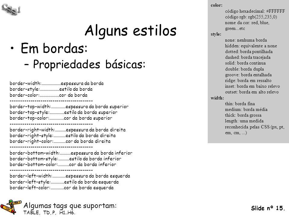 Slide nº 15. Alguns estilos Em bordas: –Propriedades básicas: border-width:................espessura da borda border-style:................estilo da b