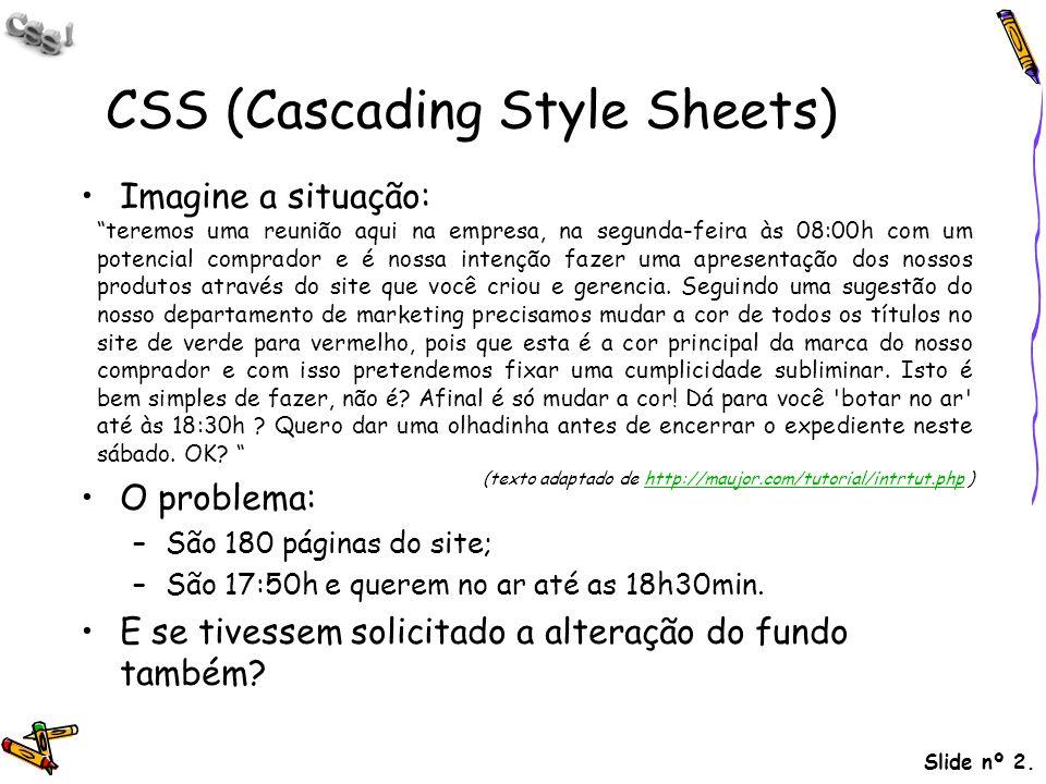 Slide nº 2. CSS (Cascading Style Sheets) Imagine a situação: O problema: –São 180 páginas do site; –São 17:50h e querem no ar até as 18h30min. E se ti