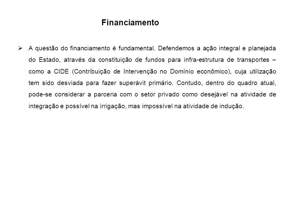 Financiamento  A questão do financiamento é fundamental. Defendemos a ação integral e planejada do Estado, através da constituição de fundos para inf