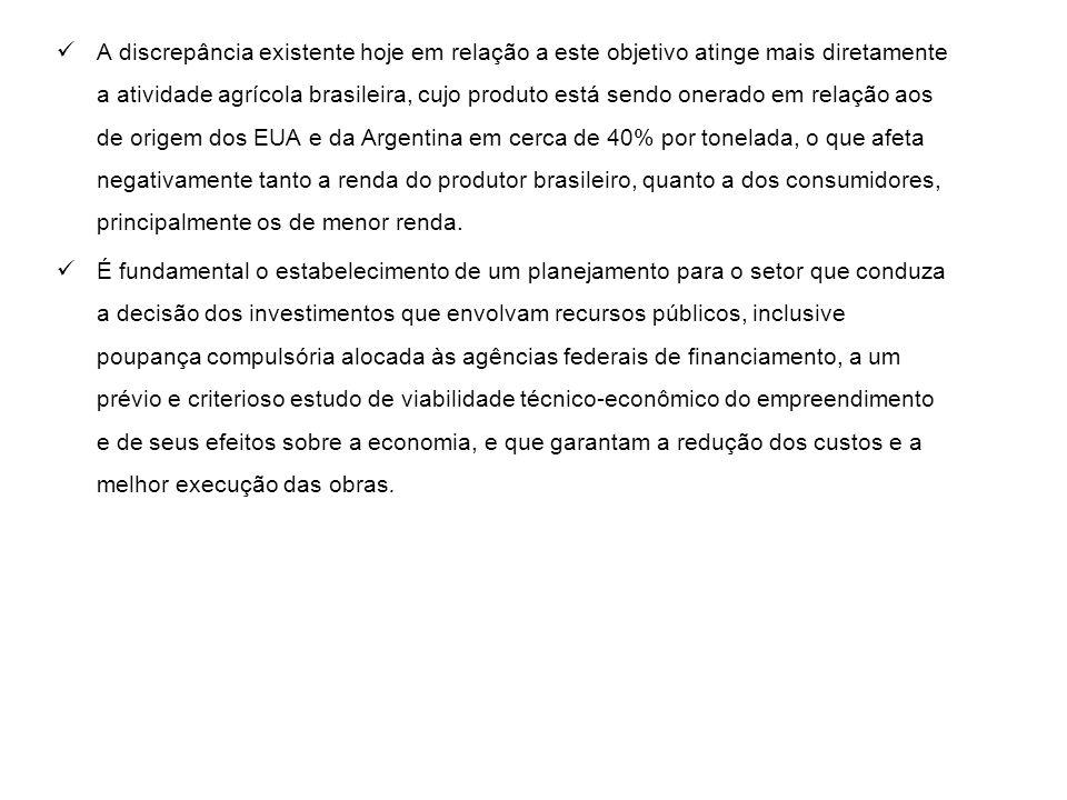 A discrepância existente hoje em relação a este objetivo atinge mais diretamente a atividade agrícola brasileira, cujo produto está sendo onerado em r