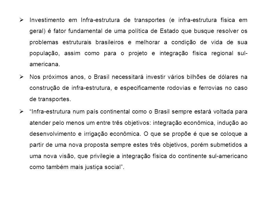 I – Princípios Gerais para um Programa de Infra-estrutura  Uma política de transportes em um país, com as dimensões do Brasil, tem que obrigatoriamente buscar três ações, quais sejam: I - integrar os mercados; II - induzir o desenvolvimento; III - irrigar economicamente os espaços.
