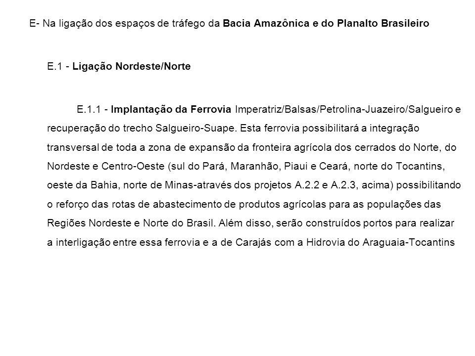E- Na ligação dos espaços de tráfego da Bacia Amazônica e do Planalto Brasileiro E.1 - Ligação Nordeste/Norte E.1.1 - Implantação da Ferrovia Imperatr