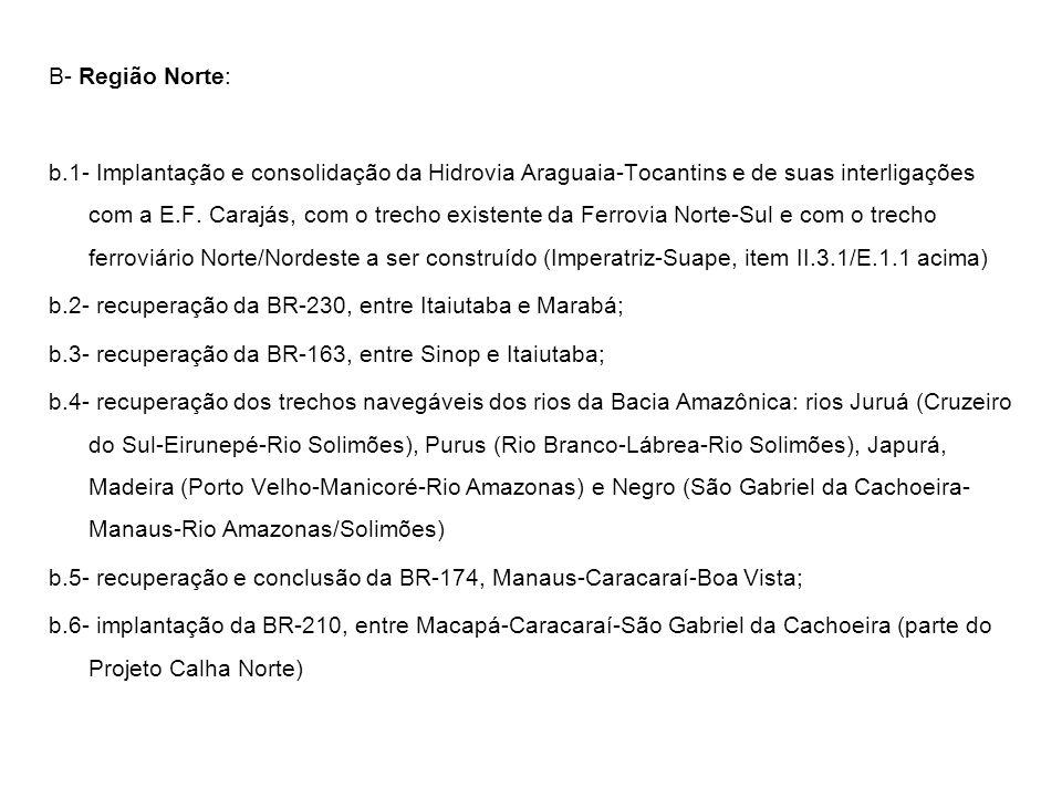 B- Região Norte: b.1- Implantação e consolidação da Hidrovia Araguaia-Tocantins e de suas interligações com a E.F. Carajás, com o trecho existente da