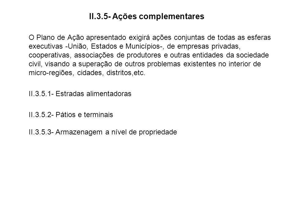 II.3.5- Ações complementares O Plano de Ação apresentado exigirá ações conjuntas de todas as esferas executivas -União, Estados e Municípios-, de empr