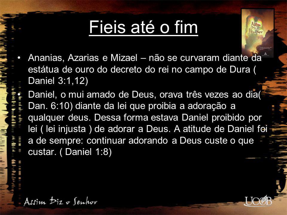 Fieis até o fim Ananias, Azarias e Mizael – não se curvaram diante da estátua de ouro do decreto do rei no campo de Dura ( Daniel 3:1,12) Daniel, o mu
