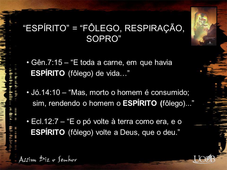 """""""ESPÍRITO"""" = """"FÔLEGO, RESPIRAÇÃO, SOPRO"""" Gên.7:15 – """"E toda a carne, em que havia ESPÍRITO (fôlego) de vida…"""" Jó.14:10 – """"Mas, morto o homem é consumi"""
