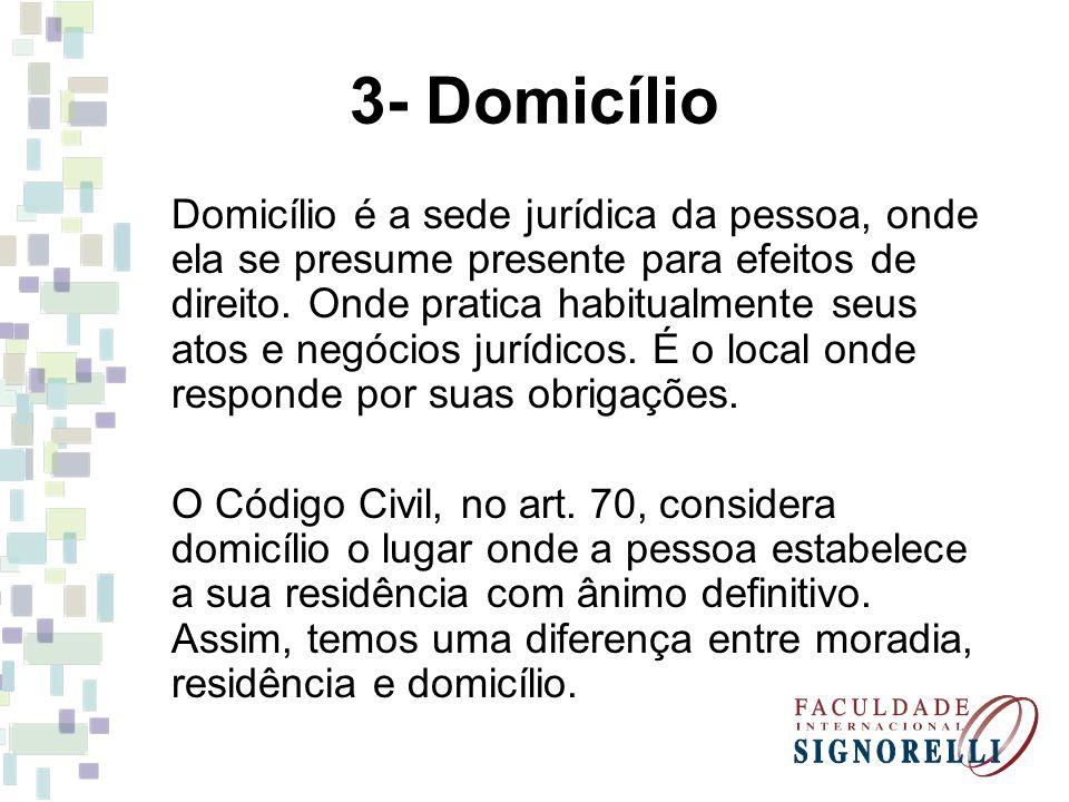 3- Domicílio Domicílio é a sede jurídica da pessoa, onde ela se presume presente para efeitos de direito. Onde pratica habitualmente seus atos e negóc