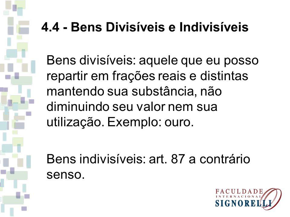 4.4 - Bens Divisíveis e Indivisíveis Bens divisíveis: aquele que eu posso repartir em frações reais e distintas mantendo sua substância, não diminuindo seu valor nem sua utilização.