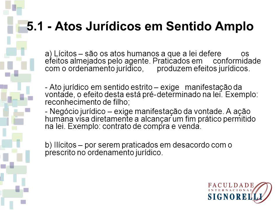 5.1 - Atos Jurídicos em Sentido Amplo a) Lícitos – são os atos humanos a que a lei defere os efeitos almejados pelo agente. Praticados em conformidade