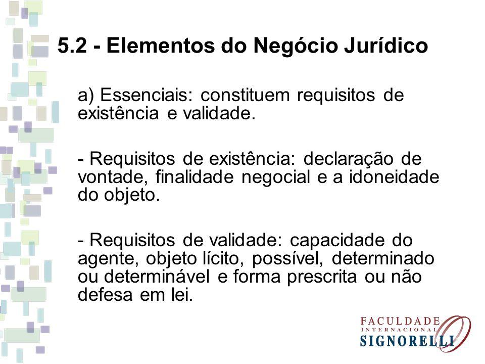5.2 - Elementos do Negócio Jurídico a) Essenciais: constituem requisitos de existência e validade. - Requisitos de existência: declaração de vontade,