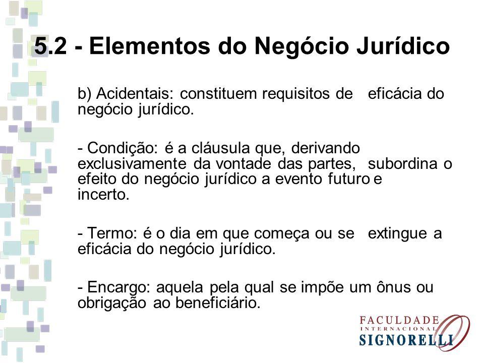 5.2 - Elementos do Negócio Jurídico b) Acidentais: constituem requisitos de eficácia do negócio jurídico. - Condição: é a cláusula que, derivando excl