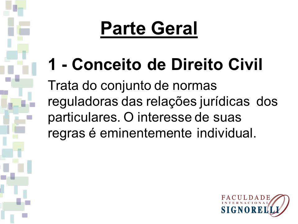 Parte Geral 1 - Conceito de Direito Civil Trata do conjunto de normas reguladoras das relações jurídicas dos particulares. O interesse de suas regras