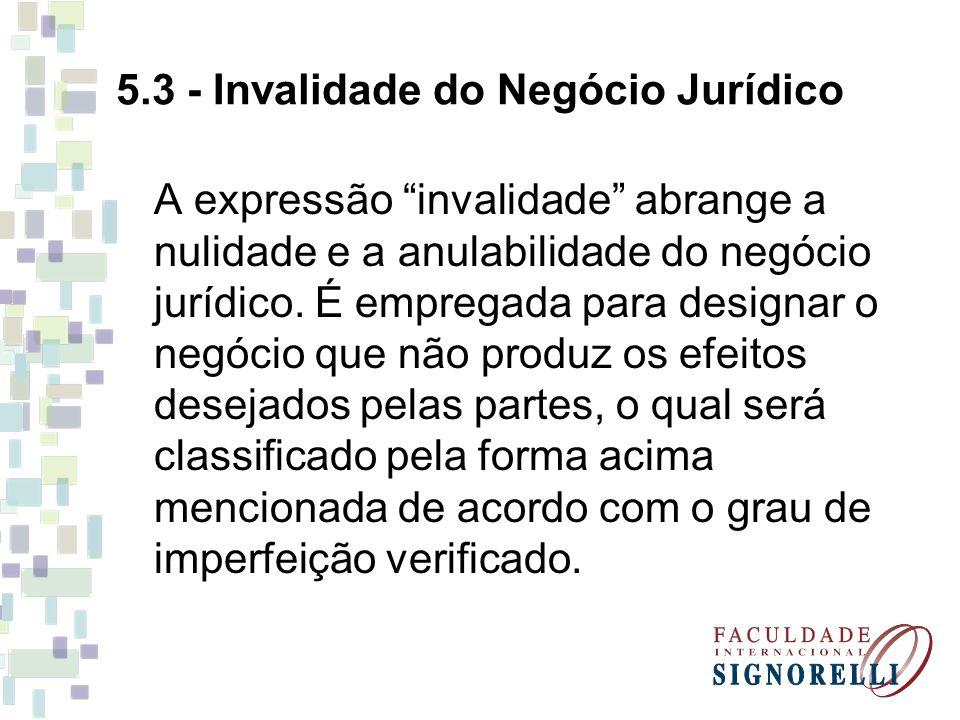 """5.3 - Invalidade do Negócio Jurídico A expressão """"invalidade"""" abrange a nulidade e a anulabilidade do negócio jurídico. É empregada para designar o ne"""