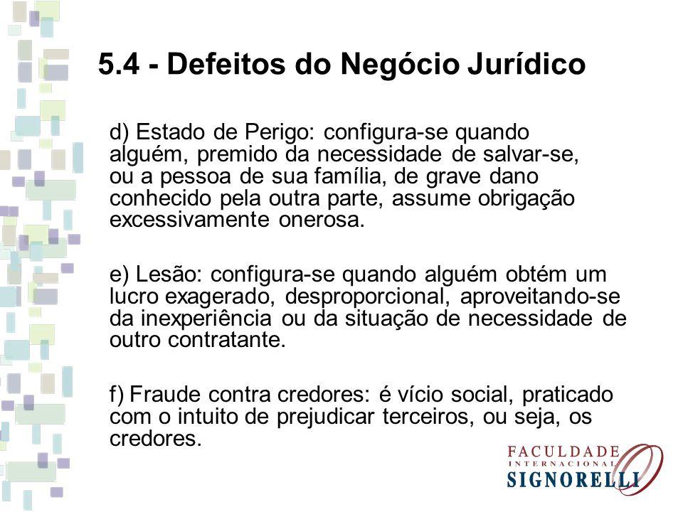 5.4 - Defeitos do Negócio Jurídico d) Estado de Perigo: configura-se quando alguém, premido da necessidade de salvar-se, ou a pessoa de sua família, d
