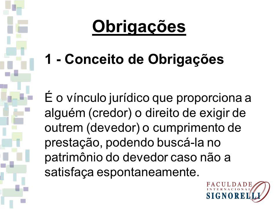Obrigações 1 - Conceito de Obrigações É o vínculo jurídico que proporciona a alguém (credor) o direito de exigir de outrem (devedor) o cumprimento de prestação, podendo buscá-la no patrimônio do devedor caso não a satisfaça espontaneamente.