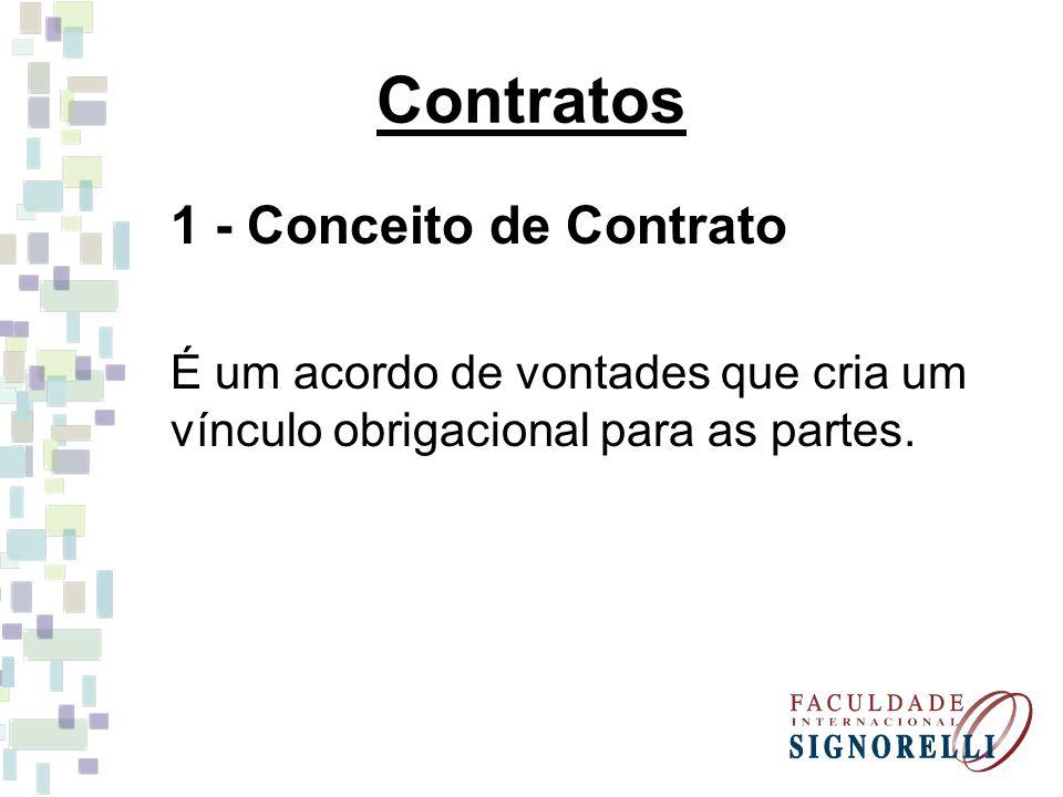 Contratos 1 - Conceito de Contrato É um acordo de vontades que cria um vínculo obrigacional para as partes.