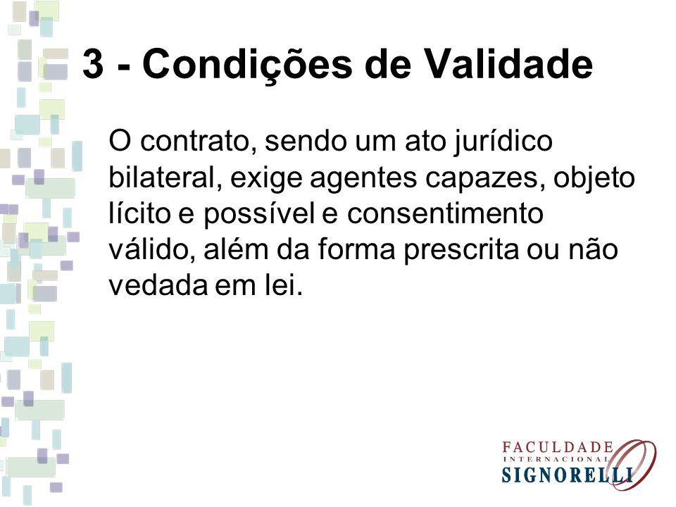 3 - Condições de Validade O contrato, sendo um ato jurídico bilateral, exige agentes capazes, objeto lícito e possível e consentimento válido, além da