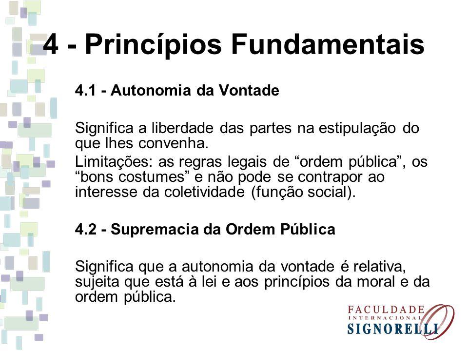 4 - Princípios Fundamentais 4.1 - Autonomia da Vontade Significa a liberdade das partes na estipulação do que lhes convenha. Limitações: as regras leg