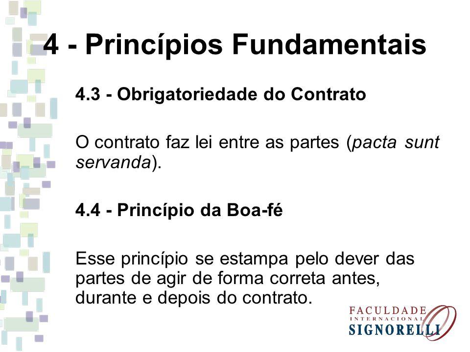4 - Princípios Fundamentais 4.3 - Obrigatoriedade do Contrato O contrato faz lei entre as partes (pacta sunt servanda).