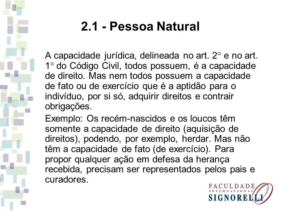 2.1 - Pessoa Natural A capacidade jurídica, delineada no art. 2  e no art. 1  do Código Civil, todos possuem, é a capacidade de direito. Mas nem tod