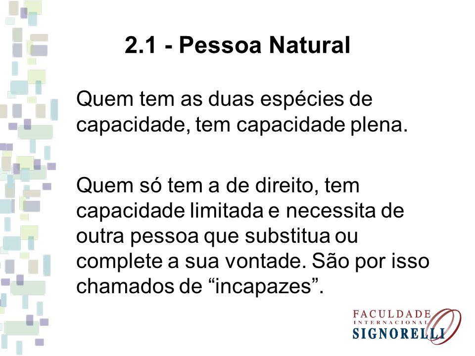2.1 - Pessoa Natural Quem tem as duas espécies de capacidade, tem capacidade plena. Quem só tem a de direito, tem capacidade limitada e necessita de o