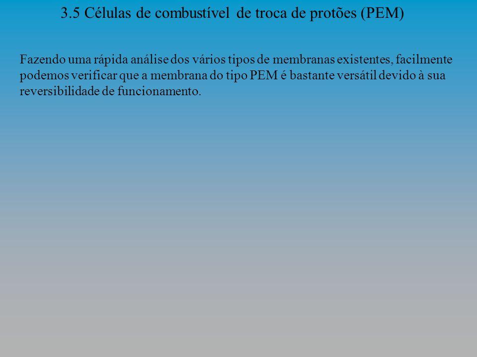 3.5 Células de combustível de troca de protões (PEM) As pilhas de combustível de membrana de troca de protões PEM usam uma membrana contínua do polímero (uma fina película plástica) como um eletrólito.
