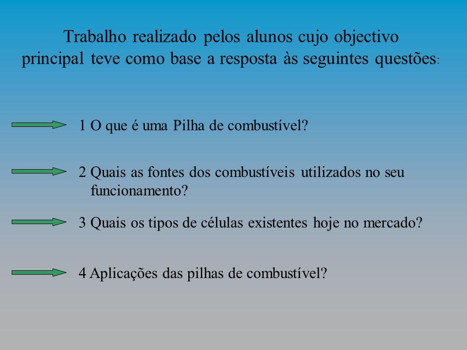 Trabalho realizado pelos alunos cujo objectivo principal teve como base a resposta às seguintes questões : 1 O que é uma Pilha de combustível.