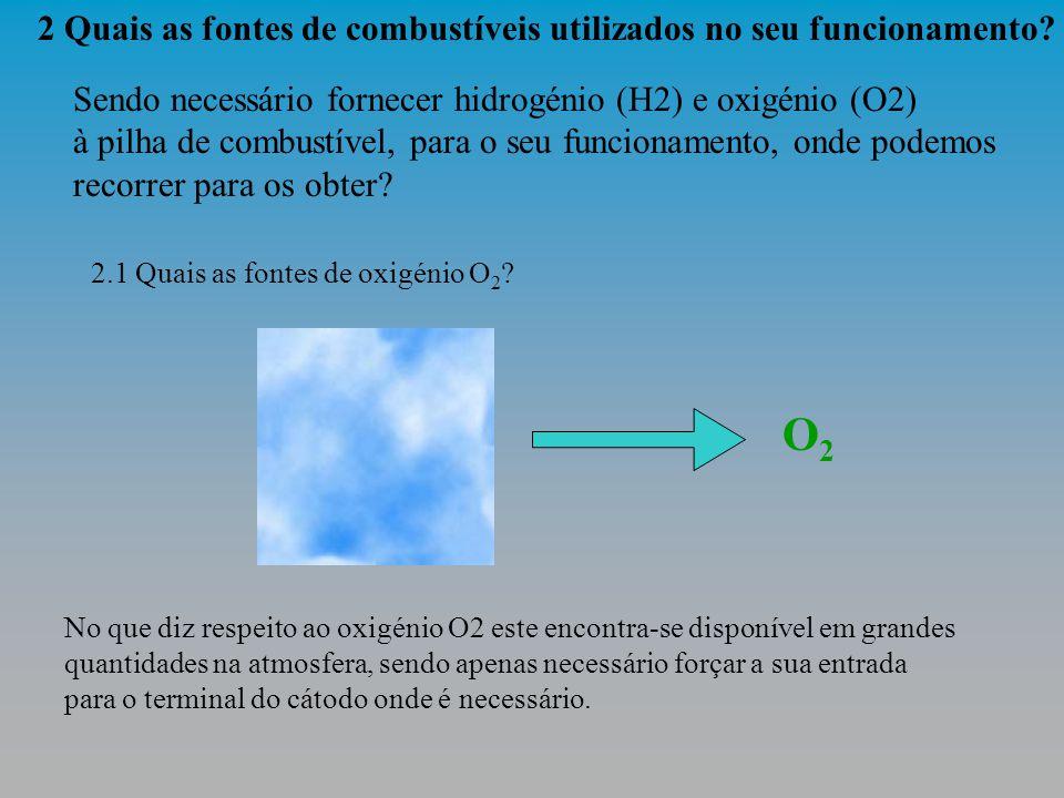 3 Os protões de hidrogénio libertados na separação dos respectivos átomos, dirigem-se para o ânodo onde vão estabelecer ligacões com os electrões que regressam, após ter percorrido o circuito eléctrico exterior, e com os átomos de oxigénio existentes no ar.