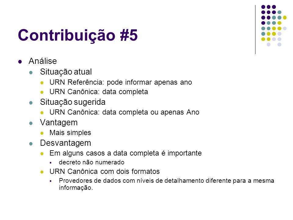 Contribuição #5 Análise Situação atual URN Referência: pode informar apenas ano URN Canônica: data completa Situação sugerida URN Canônica: data compl