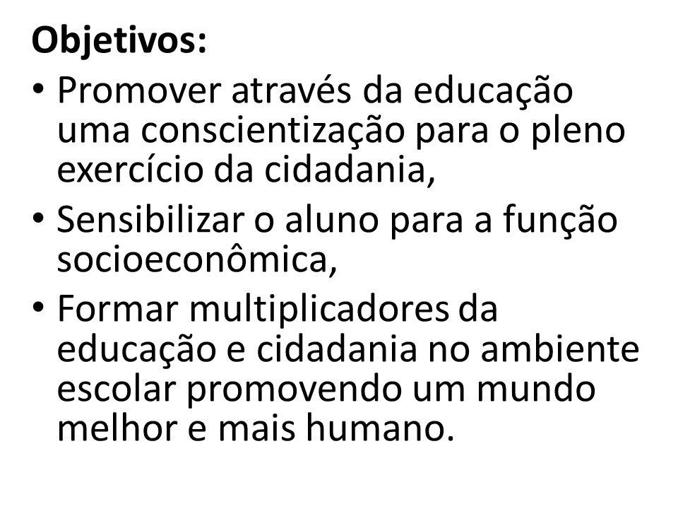 Objetivos: Promover através da educação uma conscientização para o pleno exercício da cidadania, Sensibilizar o aluno para a função socioeconômica, Fo