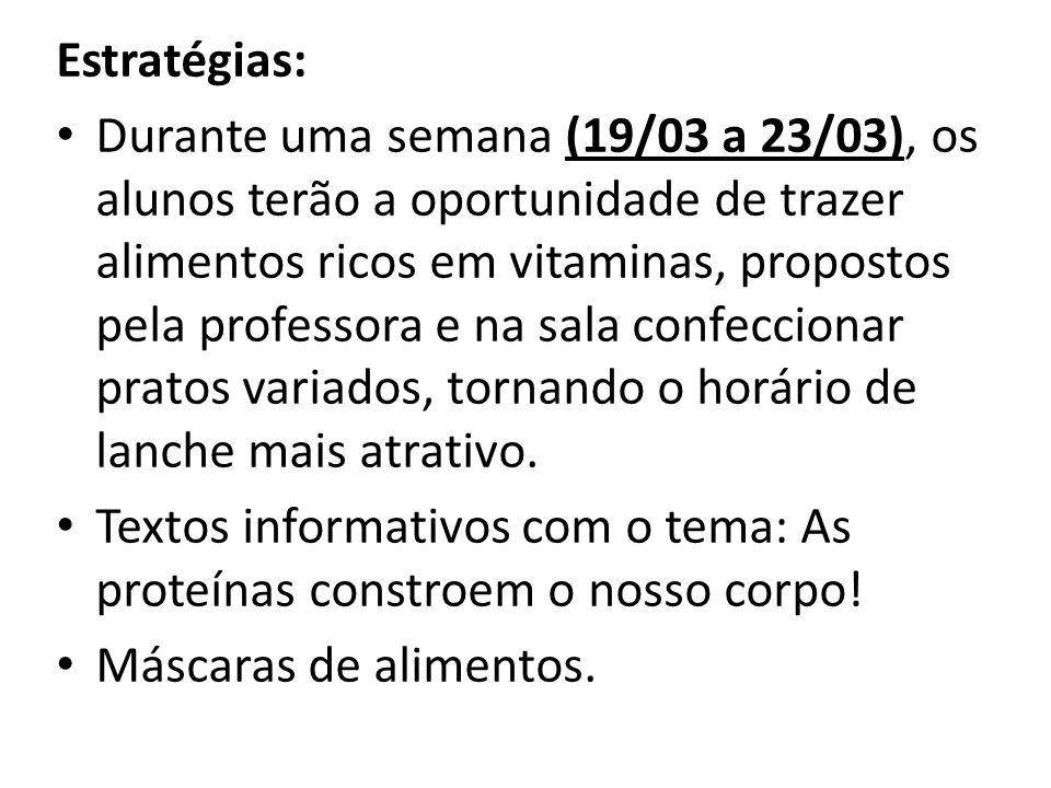 Estratégias: Durante uma semana (19/03 a 23/03), os alunos terão a oportunidade de trazer alimentos ricos em vitaminas, propostos pela professora e na