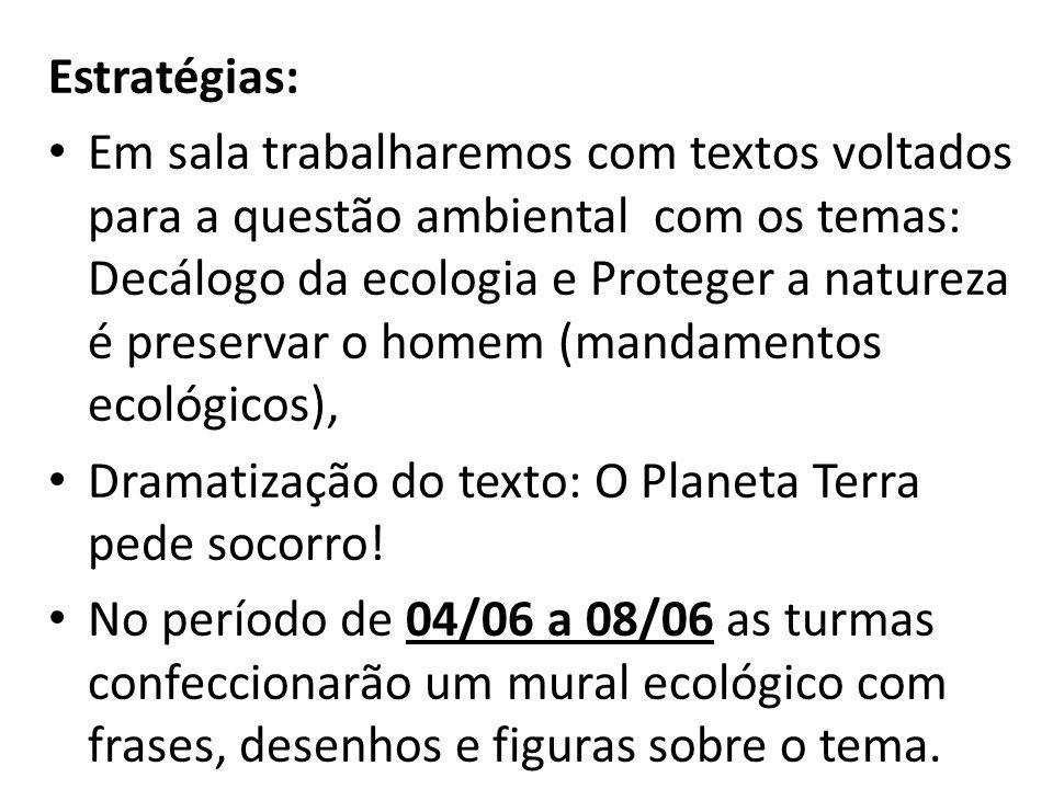 Estratégias: Em sala trabalharemos com textos voltados para a questão ambiental com os temas: Decálogo da ecologia e Proteger a natureza é preservar o