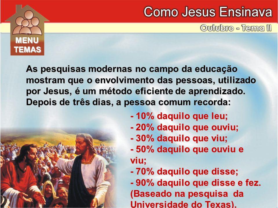 As pesquisas modernas no campo da educação mostram que o envolvimento das pessoas, utilizado por Jesus, é um método eficiente de aprendizado.