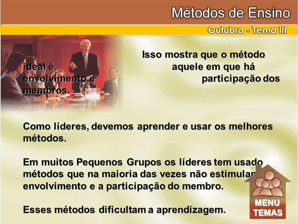 Isso mostra que o método ideal é aquele em que há envolvimento e participação dos membros.