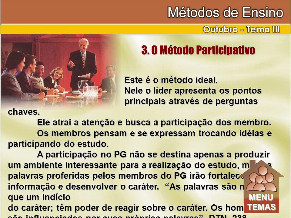 Este é o método ideal.Nele o líder apresenta os pontos principais através de perguntas chaves.