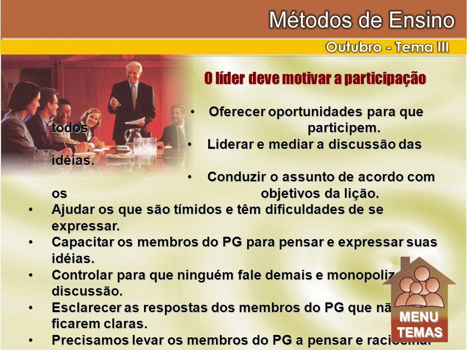 O líder deve motivar a participação O líder deve motivar a participação Oferecer oportunidades para que todos participem.