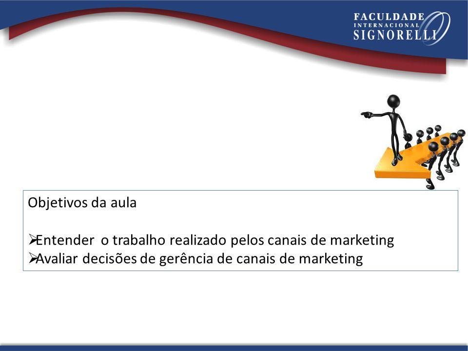 Objetivos da aula  Entender o trabalho realizado pelos canais de marketing  Avaliar decisões de gerência de canais de marketing